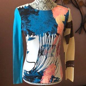 Custo Barcelona Mixed Print Long Sleeve Top Size S